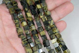 (6MM Yellow Turquoise Gemstone Square Cube Loose Beads 15.5