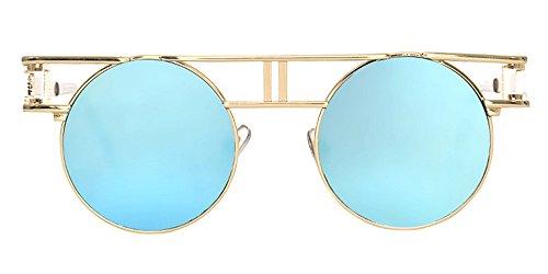 Goth e lenti per sole oro bozevon di specchio uomo rotondi occhiali riflettenti telaio steampunk - Occhiali per truccarsi allo specchio ...