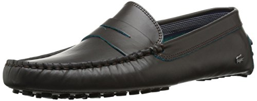 Lacoste Men's Concours 10 LCR Srm Slip-On Loafer, Brown, 10 M US