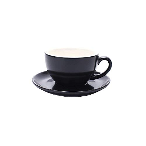 Coffeezone Double Espresso Coffee Cup and Saucer, Small Cappuccino and Speciality Coffee, New Bone China for Coffee Shop and Barista (Matte Black, 5 oz) (Shop China)