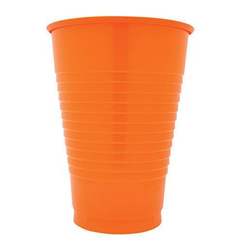 16 oz Orange Plastic Cups, 20 Pack