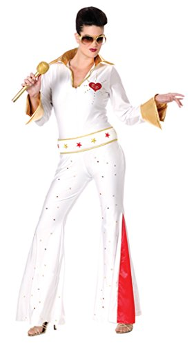 Funworld Womens Fancy Dress Elvis Female Jumpsuit Theme Party Halloween Costume, S/M (2-8) (Female Marvel Characters Costumes)
