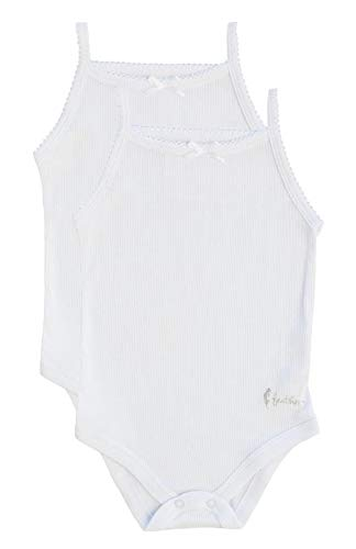 - Feathers Baby Girls Rib White 100% Cotton Super Soft Camisole Onesies 2-Pack
