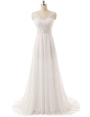 Snowskite Women's V-neck Beach Chiffon Lace Wedding Dress Bridal Gown Ivory 28