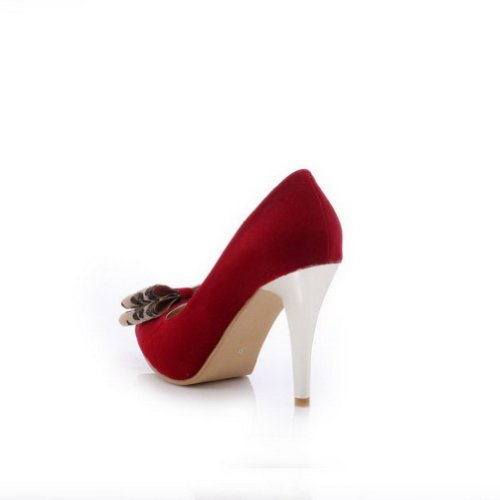 VogueZone009 Womens Closed Pointed Toe High Heel Suede PU Frosted Solid Pumps with Bowknot Red e0bBTmn