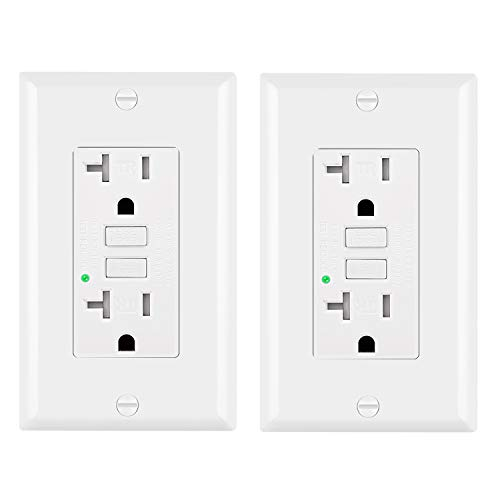 [2 Pack] BESTTEN Tamper-Resistant GFCI Outlet Receptacles (20 Amp & 125 Volt), LED Indicator, Decorative Wall Plates and Screws Included, ETL Certified, White