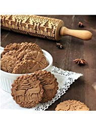 Christmas Wooden Rolling Pins SUJING Engraved Embossing Rolling Pin with Christmas Symbols for Baking Embossed Cookies (43x5cm) by SUJING