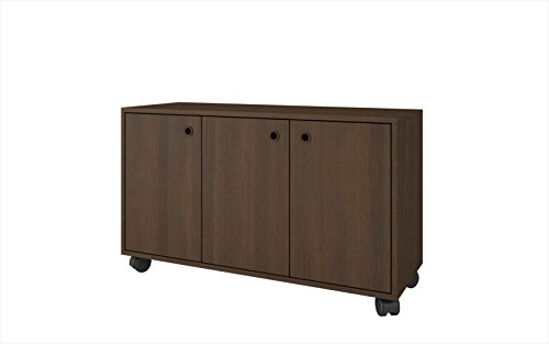 li Cabinet Collection 3 Shelf Modern Storage Cabinet with 3 Doors and 4 Caster Wheels, 35.4