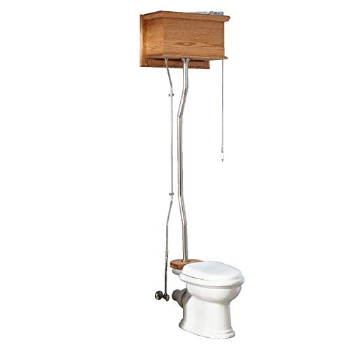 Naiture Golden Oak High Tank Pull Chain Water Closet With Rear Outlet Bowl And Polished Brass Finish Hardware