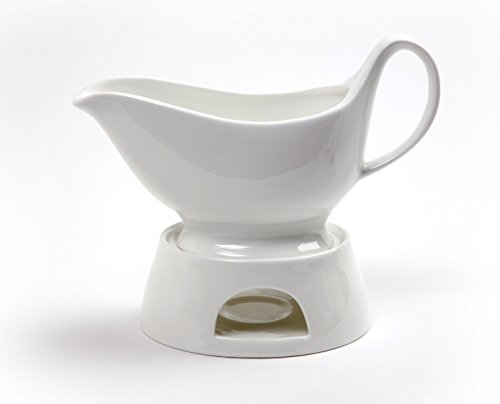 Norpro Porcelain Gravy Sauce Boat with Stand and Candle White Gravy Boat