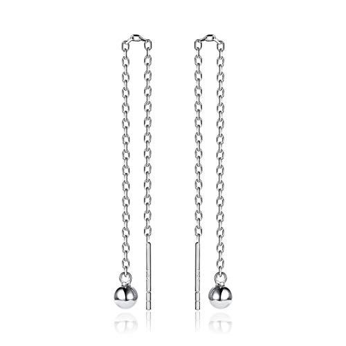 ChicSilver Minimalist Threader Tassel Earrings 925 Sterling Silver Tiny Ball Drop Long Chain Ear Line Earrings for Women Girl ()