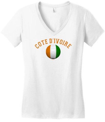 Cote D'Ivoire Pride Football Soccer Flag Ball Juniors V-Neck Medium White