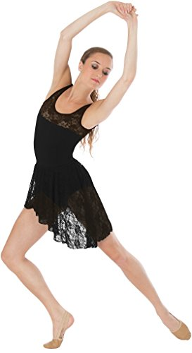 omens Tank Lace Bodice Leotard, Small, Black (Body Wrappers Tank Leotard)