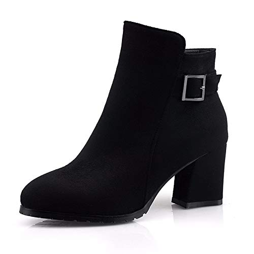 HBDLH Damenschuhe Verdickte Kurze Stiefel Weiblich Ferse und Hochhackige Schuhe 6 cm Vereiste Seite Reißverschluss Joker Stiefel Single - Stiefel.