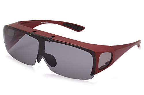 - Bestum Driving Glasses Wraparounds Polarized Fitover Sunglasses (Red, Grey)