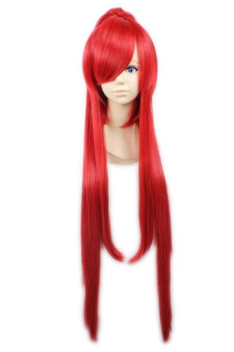 """40"""" 100cm Red Long Straight Clip On Ponytail Anime Cosplay Styling Full Wigs"""