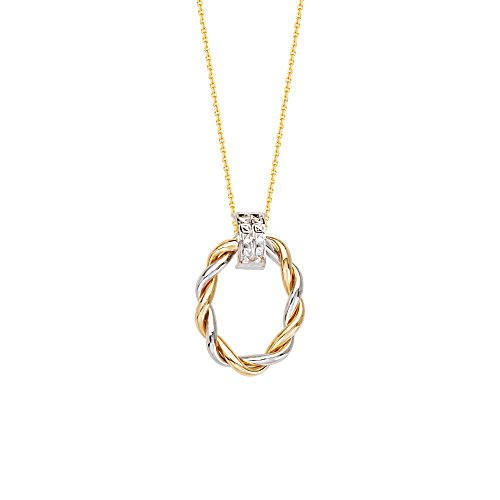 Gold 2-tone Necklace Braided Oval Doorknocker Style Pendant ()