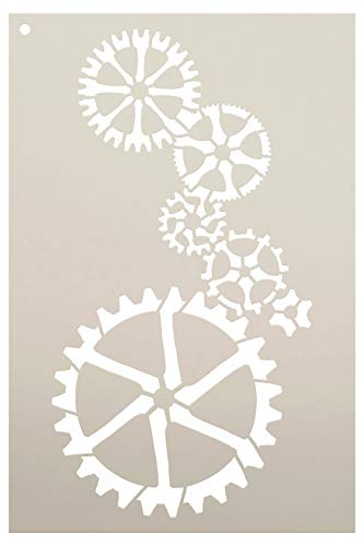 "Stacked Gears Stencil by StudioR12 | Reusable Mylar Template | Use to Paint Wood Signs - Pallets - Pillows - DIY Steampunk Decor - Select Size (8"" x 12"")"