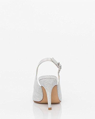 Ch Women's Slingback Metallic Peep Toe Le Silver teau vqd4gxpp