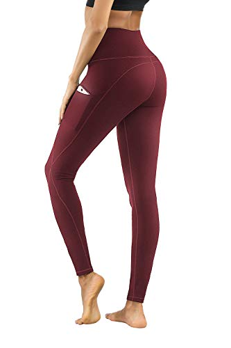 PHISOCKAT High Waist Yoga Pants with Pockets, Tummy Control Yoga Pants for Women, Workout 4 Way Stretch Yoga Leggings (Wine, Large) (The Best Way To Exercise)