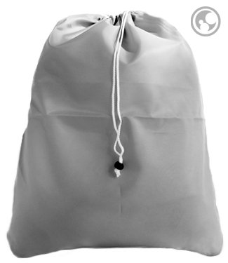 Laundry Bag with Drawstring and Locking Closure, Color: Gray, Small Size: 22x28
