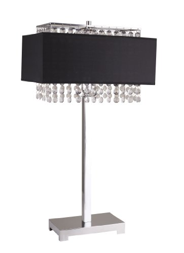 Price comparison product image Milton Greens Stars A733BK Shannon Crystal Table Lamp with Fabric Light Diffusing Shade,  27.5-Inch,  Black