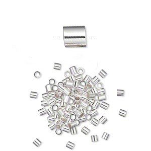 Crimp Bead, Sterling Silver, 2x2mm Cut Tube, 1.1mm Inside Diameter. Sold Per Pkg of 100..925 (Sterling Silver 2x2mm Crimp Beads)