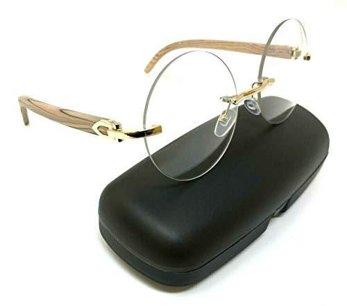 Diplomat Rimless Round Metal & Wood Eyeglasses/Clear Lens Sunglasses - Frames (Rose Gold & Light Brown Wood Frame w/Case, Clear)