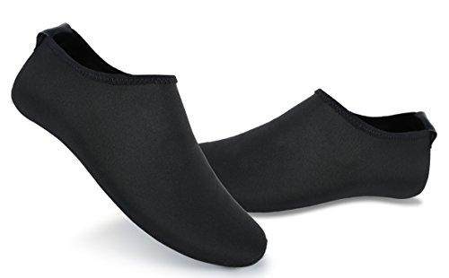 UNN Yoga Socks Water shoes for Women Slip-on Anti-Skid Barefoot Barre Pilates Ballet Maternity Indoor Slipper all black-L from UNN