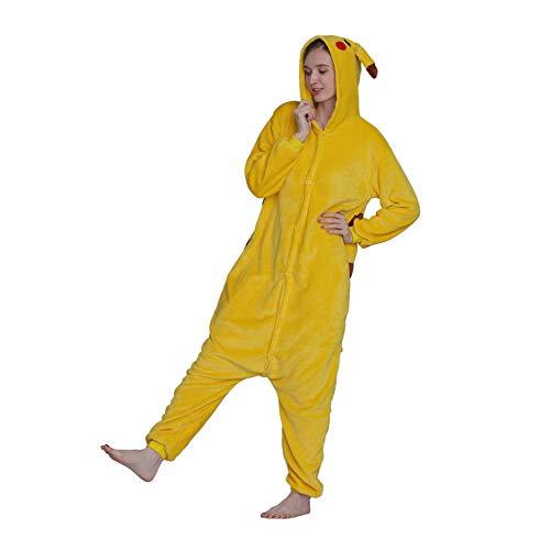 Pikachu Animal Onesies Pajamas Sleepwear, Unisex Adult One-Piece Pajamas Cosplay Onesies Christmas Halloween Costume