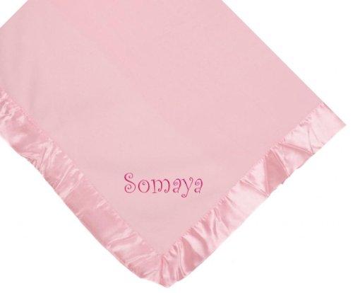 Somaya Girl Embroidery Microfleece Satin Trim Baby Embroidered Pink Blanket