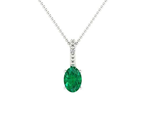 Euforia Jewels IGI Certified 14K Fine Gold Natural Emerald 6x4 mm Oval and 0.01 Cts Natural Diamond I1-I2/G-H Round Cut Pendant With Free 925 Sterling Silver - Emerald Wg Diamond Cut 14k