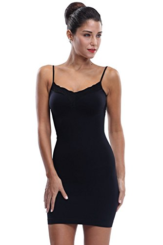 Franato Women's Shapewear Stretch Control Slip Dress Full Shaping Camis Slip Large Black Dress Shaper