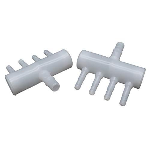 (YOOTOP Plastic 4-Way Aquarium Air Line Tubing Splitter Connector 5 Pcs)
