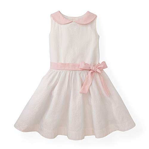 Hope & Henry Girls' Pink Peter Pan Collar Seersucker Dress