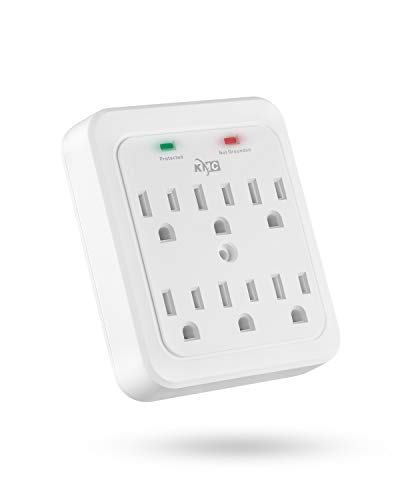 KMC Wall Surge Protector, 980 Joule, 6-Outle Wall Plug Adapter Power Strip, White