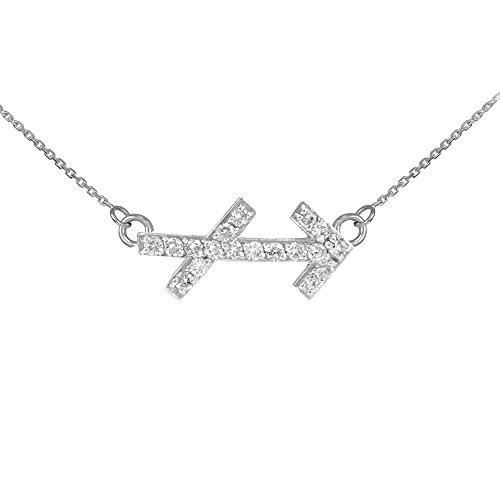 Collier Femme Pendentif 14 ct Or Blanc Sagittaire Signe Du Zodiaque Diamant (Livré avec une 45cm Chaîne)