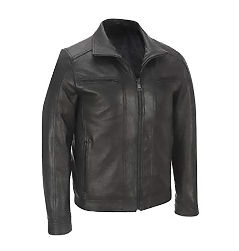 Men's Biker Stylish Cafe Racer Motorcycle Real Leather Jacket (5XL) Black