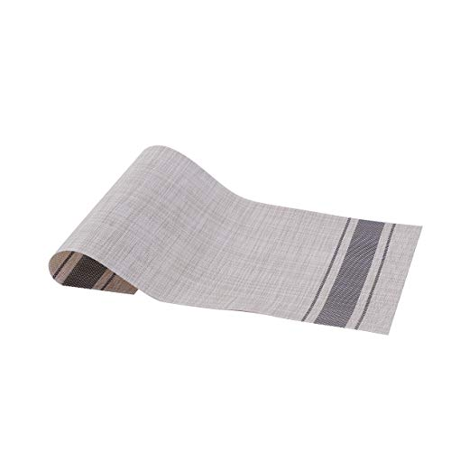 Millie Home Placemats for Dining Table Vinyl Heat Resistant Wipeable Placemat Non-Slip Washable PVC Kitchen Place Mats Set of 6,Gray Stripe by Millie Home (Image #4)