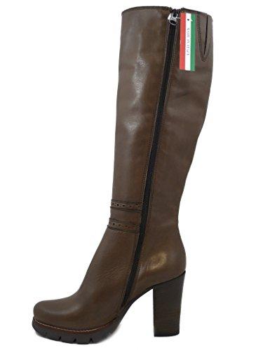 Donna Tacco Marrone Stivali Al Rz937 E In Pericoli Alto Pelle Ginocchio Osvaldo Cm 9 Plateau qFwEA8n