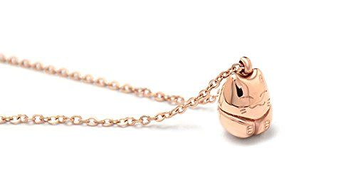 Ello Elli Lucky Cat Necklace Rose-Gold Tone 316L Stainless Steel by Ello Elli (Image #2)