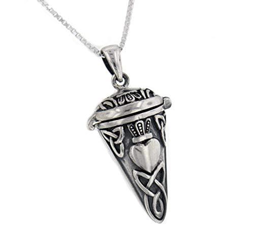 Celtic Knot Claddagh Perfume Vial - Poison Jar - Urn Pendulum Pendant w/ 18