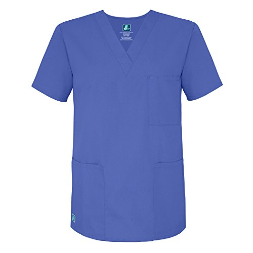 Adar Universal Unisex V-Neck Tunic 3 Pocket Scrub Top (Available in 39 Colors) - 601 - Ceil Blue - M
