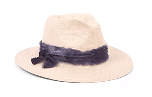 ale by Alessandra Women's Luca Panama Sunhat Packable, Adjustable & UPF Rated, Natural/Dark Grey, One Size