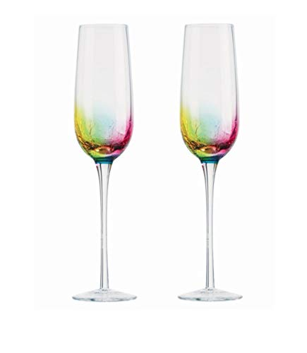 Artland Neon Set of 2 Champagne Flute Flute Glass for Sparkling Wine and Prosecco Multi-coloured Crackle Effect 250ml ART14901 from Artland