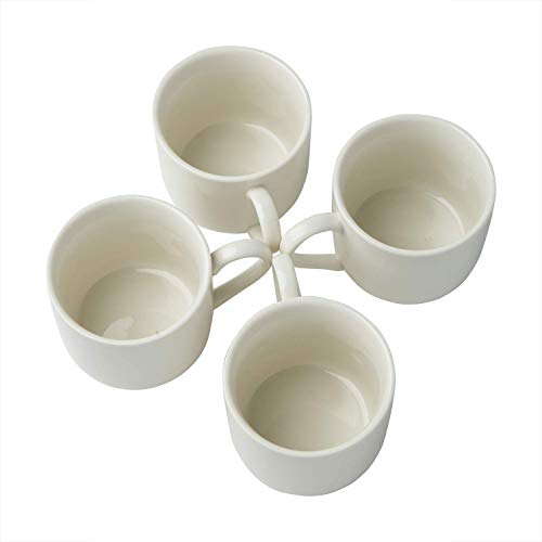 4oz. Espresso Cups Set of 4 With Matching Saucers - Premium White Porcelain, 8 Piece Gift Box Demitasse Set - Italian Caffè Mugs, Turkish Coffee Cup - Lungo Shots, Dopio Double Shot