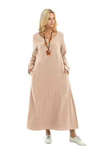Anysize Long-Sleeved Linen Cotton Spring Summer Dress Plus Size Clothing F148A - Camel Plus