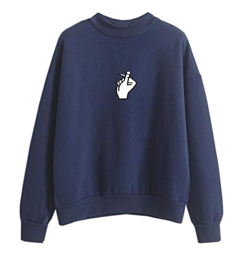 Fashiononly Women Funny Gesture Pullover Sweatshirt, Navy-White Pattern