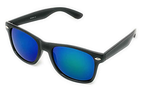 - Sunglasses Classic 80's Vintage Style Design (Black, Color Mirror Blue Green)