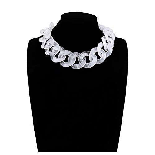 BSJELL Acrylic Choker Necklace Chunky Resin Link Chain Statement Necklace Big Wide Collar Necklace Fashion Jewelry for Women Girls (White)
